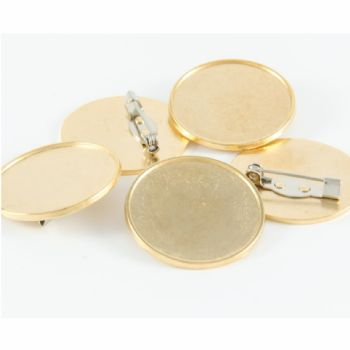 Premium Badge Blank round 25mm gold pin clasp fitting